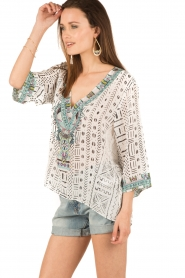 Camilla | Zijden blouse Maasai Mosh | wit  | Afbeelding 4