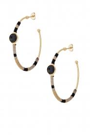 Gas Bijoux | Vergulden oorbellen Serti hoop | zwart  | Afbeelding 1