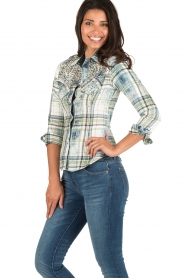 Dishe Jeans | Geruite blouse Stacey | groen  | Afbeelding 4