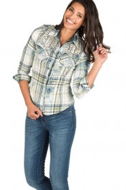 Dishe Jeans | Geruite blouse Stacey | groen  | Afbeelding 2