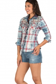 Dishe Jeans   Geruite blouse Stacey   blauw    Afbeelding 4