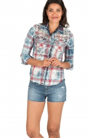 Dishe Jeans   Geruite blouse Stacey   blauw    Afbeelding 2