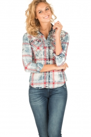 Dishe Jeans | Geruite blouse Stacey | blauw  | Afbeelding 2