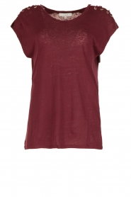 IRO | Linnen T-shirt met lace-up Amery | wijnrood  | Afbeelding 1