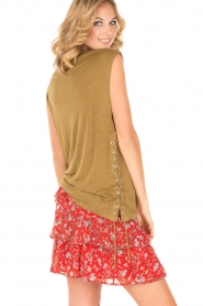 IRO |  Linen T-shirt with lace-up Avys | khaki green  | Picture 5