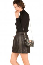 Furla | Leren schoudertas met verwisselbare klep Metropolis Mini | zwart  | Afbeelding 2