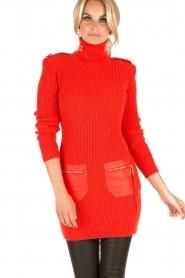 ELISABETTA FRANCHI | Jurk met col Cintura | rood  | Afbeelding 2