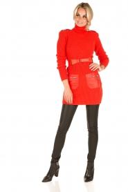 ELISABETTA FRANCHI | Jurk met col Cintura | rood  | Afbeelding 3
