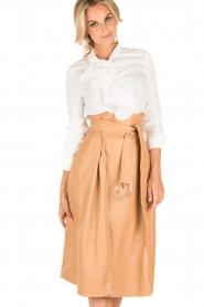 ELISABETTA FRANCHI |  Faux leather skirt Piega | camel   | Picture 2