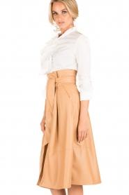 ELISABETTA FRANCHI |  Faux leather skirt Piega | camel   | Picture 4