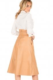 ELISABETTA FRANCHI |  Faux leather skirt Piega | camel   | Picture 5