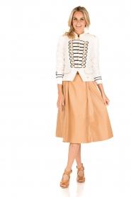 ELISABETTA FRANCHI |  Faux leather skirt Piega | camel   | Picture 3