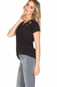 Hunkydory | Katoenen T-shirt Bumblebee | zwart  | Afbeelding 4
