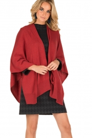 Knit-ted | Wrap poncho Tara | rood  | Afbeelding 2
