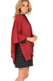 Knit-ted | Wrap poncho Tara | rood  | Afbeelding 5