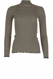 Rosemunde |  Silk turtle neck top Belle | black & white  | Picture 1