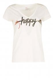 Leon & Harper | Biologisch katoenen T-shirt Happy | wit  | Afbeelding 1