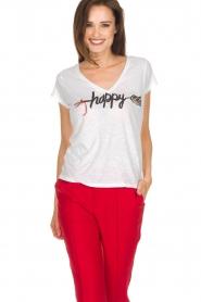Leon & Harper | Biologisch katoenen T-shirt Happy | wit  | Afbeelding 2