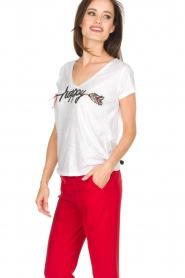 Leon & Harper | Biologisch katoenen T-shirt Happy | wit  | Afbeelding 3