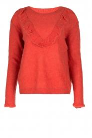 Leon & Harper | Fijn gebreide trui met ruches Madeleine | rood  | Afbeelding 1