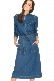 Leon & Harper |  Denim midi skirt Johnny | blue  | Picture 2