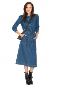 Leon & Harper |  Denim midi skirt Johnny | blue  | Picture 3