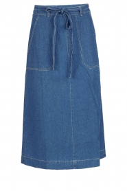 Leon & Harper |  Denim midi skirt Johnny | blue  | Picture 1