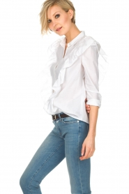 ba&sh |  Blouse with volants Dehli | white   | Picture 4