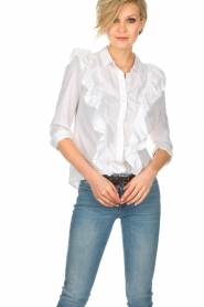 ba&sh |  Blouse with volants Dehli | white   | Picture 2