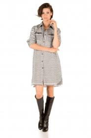 Rough Studios |  Blouse dress Olympia | black & white  | Picture 3