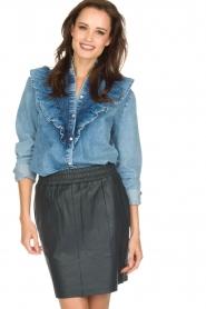 Set | Denim blouse met ruches Carri | blauw  | Afbeelding 2