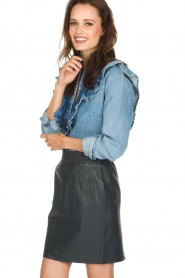 Set | Denim blouse met ruches Carri | blauw  | Afbeelding 4