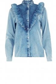 Set | Denim blouse met ruches Carri | blauw  | Afbeelding 1