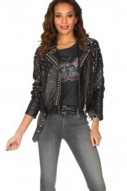 Set |  Leather Biker jacket Stacey | black  | Picture 4