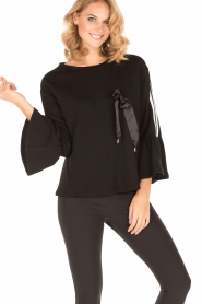 Atos Lombardini |  Sweater Two Stripes | black   | Picture 2