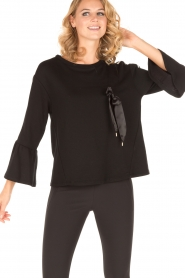 Atos Lombardini |  Sweater Two Stripes | black   | Picture 5