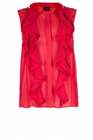 Atos Lombardini |  Top with ruffles Weavy | red  | Picture 1