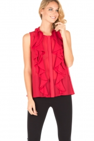 Atos Lombardini |  Top with ruffles Weavy | red  | Picture 2
