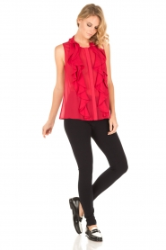 Atos Lombardini |  Top with ruffles Weavy | red  | Picture 3