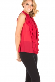 Atos Lombardini |  Top with ruffles Weavy | red  | Picture 4