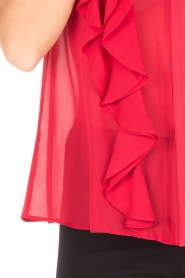 Atos Lombardini |  Top with ruffles Weavy | red  | Picture 6