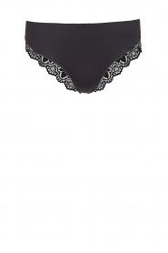 Hanro | Slip met kant Luna | zwart  | Afbeelding 1