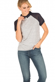 Aaiko | Polo T-shirt Sierra | wit/blauw  | Afbeelding 2