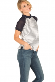 Aaiko | Polo T-shirt Sierra | wit/blauw  | Afbeelding 4