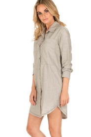 Sunday in Bed | Flanellen nachthemd Stassy | grijs  | Afbeelding 3