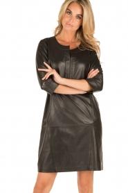 Arma | Leren jurk Murret | zwart  | Afbeelding 2