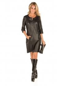 Arma | Leren jurk Murret | zwart  | Afbeelding 3