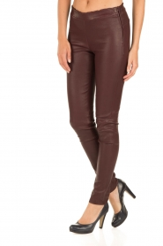Arma |  Lamb leather stretch leggings Roche | burgundy  | Picture 4