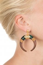 Gas Bijoux | Houten oorbellen Juan | goud  | Afbeelding 3