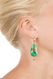 Gas Bijoux | Vergulden oorbellen Goutte | groen  | Afbeelding 3